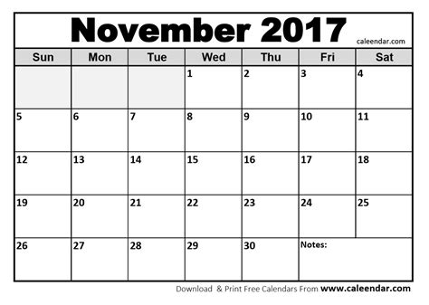 november 2017 calendar printable template with holidays