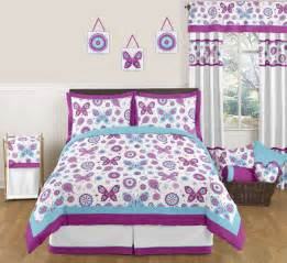 Queen Size Bed Designs For Girls Purple Turquoise Butterfly Flowers Full Queen Size Bedding