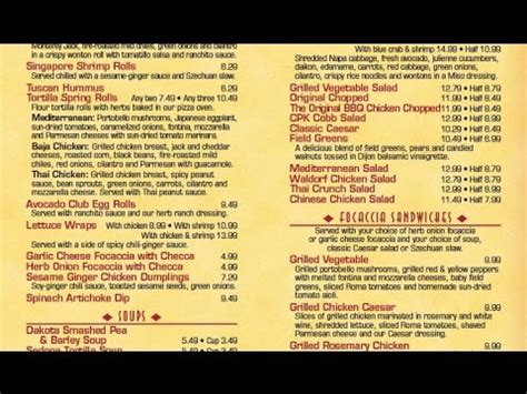 California Pizza Kitchen Allergy Menu by California Pizza Kitchen Menu California Pizza Kitchen