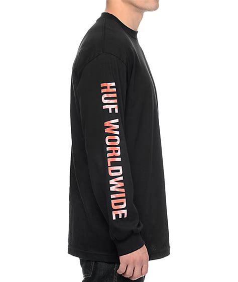 Kaos Sleeve Huf Triangle Black Dyed huf triangle tie dye black sleeve t shirt zumiez
