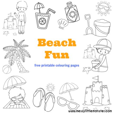 printable beach activity sheets beach colouring pages free messy little monster