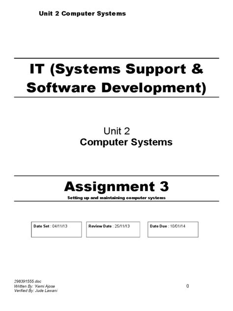 btec level  computer systems assignment  iv  computer hardware software
