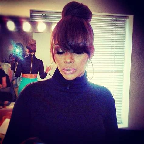 evelyn lozada bun with bangs pin by alana lewis on hair pinterest