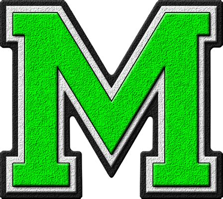 presentation alphabets kelly green varsity letter m