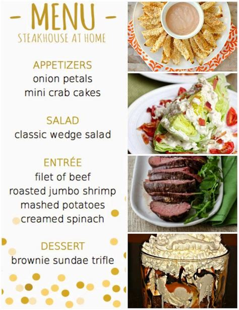 best dinner menu themed dinner menus home ideas