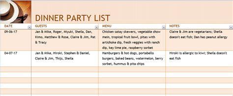 dinner list dinner list with menu template formal word templates
