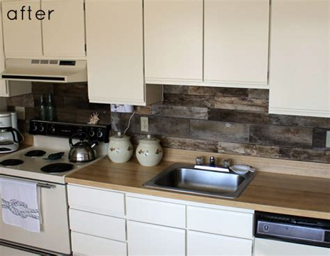 before after reclaimed wood kitchen backsplash design