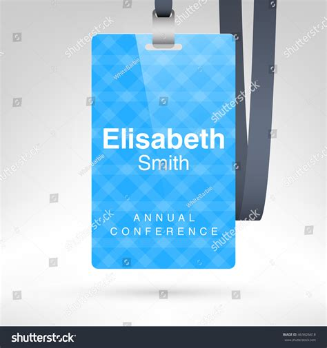 convention name card holder template blue conference badge name tag placeholder stock vector