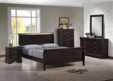 Chocolate Bedroom Furniture Acme Furniture Louis Philippe Iv Brown 5 King Sleigh Bedroom Set Contemporary
