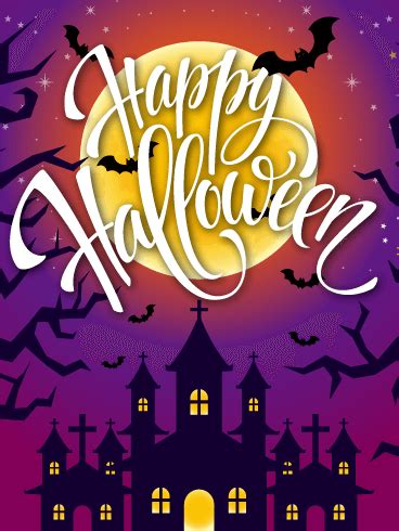 purple night happy halloween card birthday greeting cards  davia