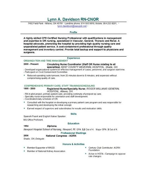 Nursing Resume Samples – Registered nursing resume template