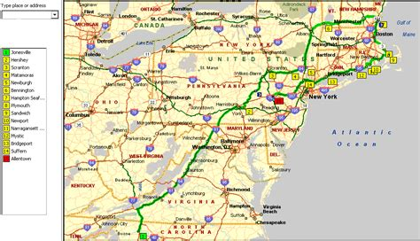 driving map northeast us road map of new map