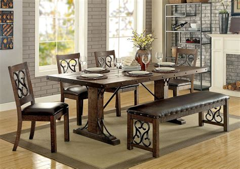 Traditional Dining Table Sets Tamilo Traditional Dining Table Set Rustic Finish