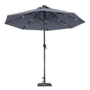 solar patio umbrella illumination with a solar patio umbrella yard surfer