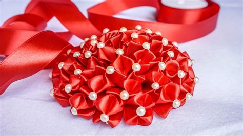 flower design with ribbon diy ribbon flower weddings flower decorations