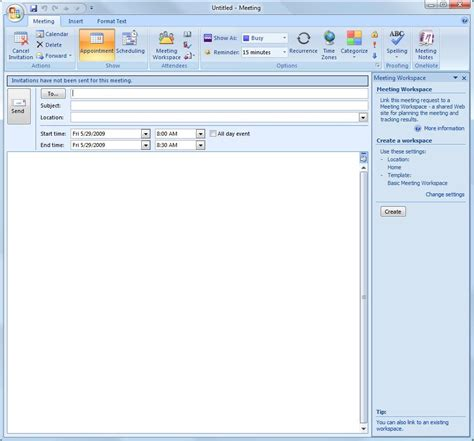outlook mail template creating meeting workspaces in moss 2007 and outlook 2007