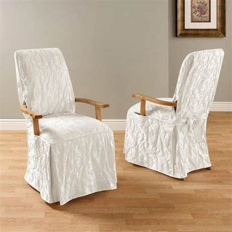 White Matelasse Damask Arm Long Dining Chair Cover Sure White Dining Chair Cover