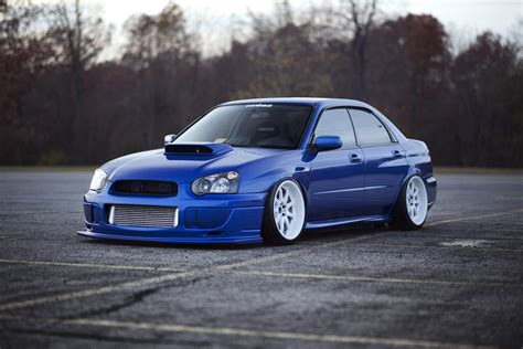 stanced subaru wallpaper subaru impreza wrx sti blue tuning wallpaper 5616x3744