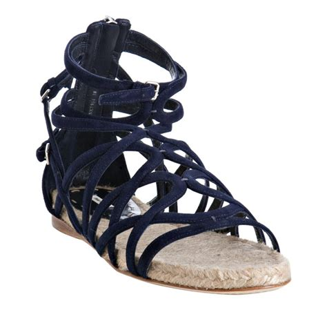 navy blue flat dress sandals miu miu navy strappy suede flat sandals in blue lyst