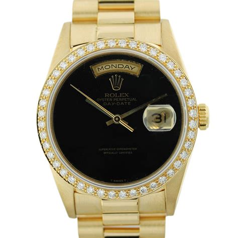 Rolex Black Gold gold rolex president 18238 black onyx boca raton