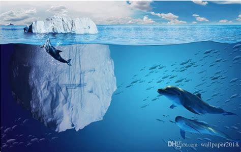 bathroom wallpaper glacier underwater world dolphin  tv