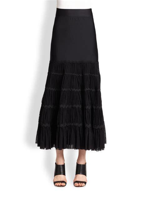 jean paul gaultier tiered maxi skirt in black lyst