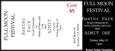 templates for event tickets ticket templates free word s templates