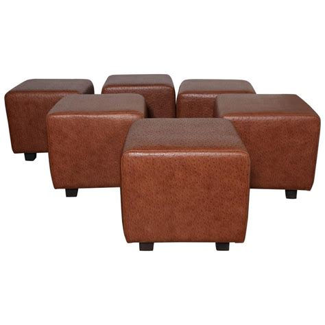 square leather ottomans set of 5 custom made square leather ottomans at 1stdibs