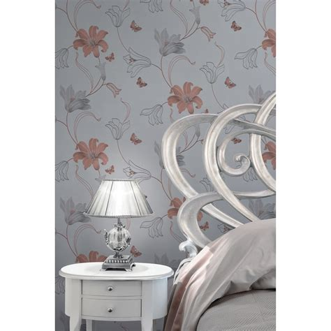 amelia floral wallpaper rose gold wallpaper bm