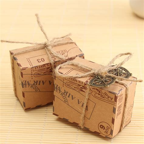 Candybox Paperbag Tingjing Wedding Sangjit 50pcs kraft paper box airplane mail box rustic wedding favors shabby vintage gift packing