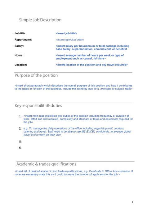49 Free Job Description Templates Exles Free Template Downloads Position Description Template