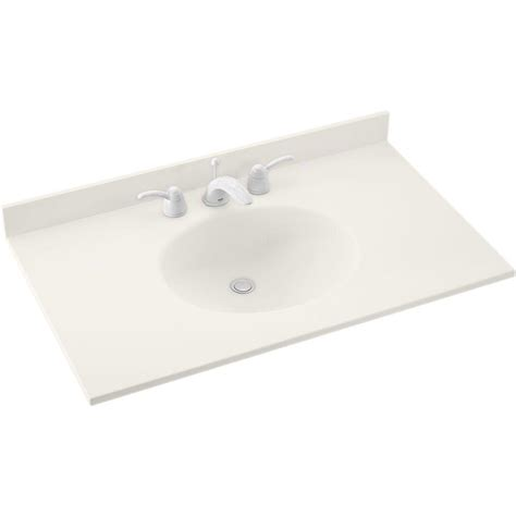 Solid Surface Vanity Top With Sink by Swan Ellipse 37 In W X 22 In D Solid Surface Vanity Top