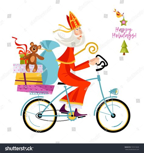 Santa Claus Sinterklas santa claus sinterklaas on bicycle gifts stock vector