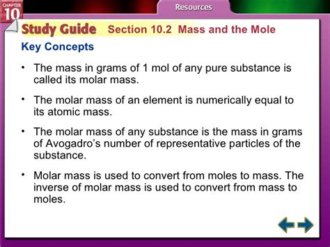 section 10 1 the mole a measurement of matter answers cmc chapter 10