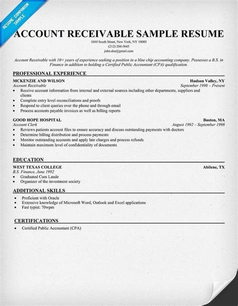 Accounts Receivable Resume by Accounts Receivable Resume Template Resume Builder