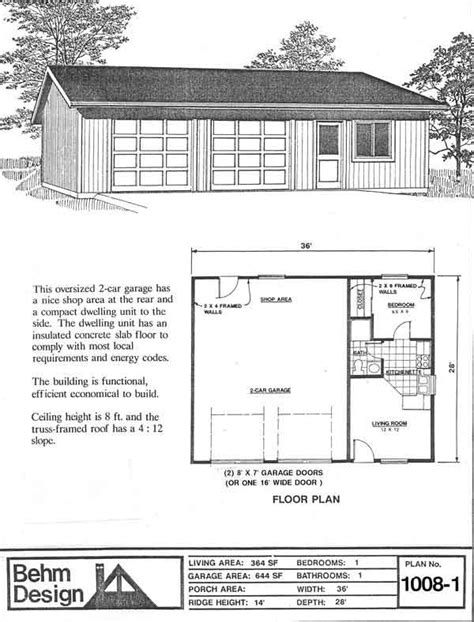 garage apartment plans one story garage with apartment plan no 1008 1 36 x 28 by behm