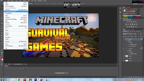 minecraft survival games photoshop thumbnail template