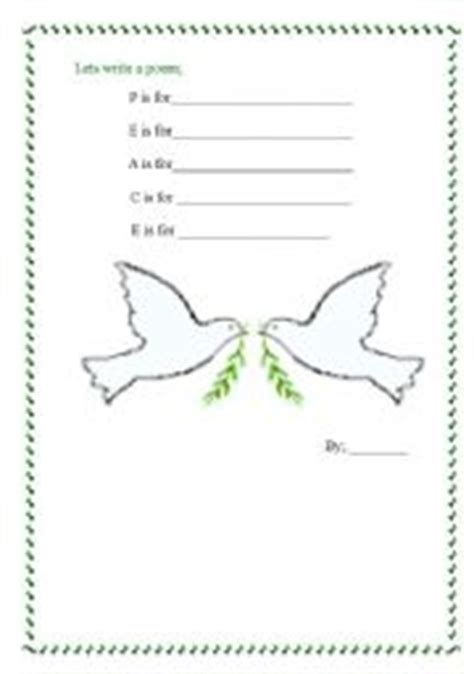 Peace Day Worksheets by Worksheets Peace Poem
