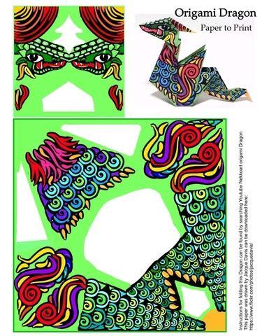 origami dragon template  printable papercraft templates
