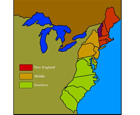 13 Colonies Sections by 13 Colonies Regions