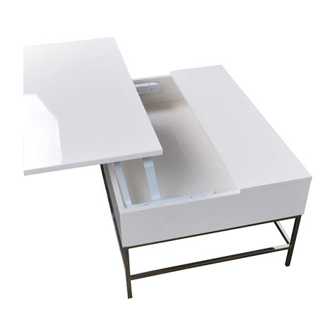 34% OFF   West Elm Storage Table West Elm White Lacquer Wood Coffee Table / Tables