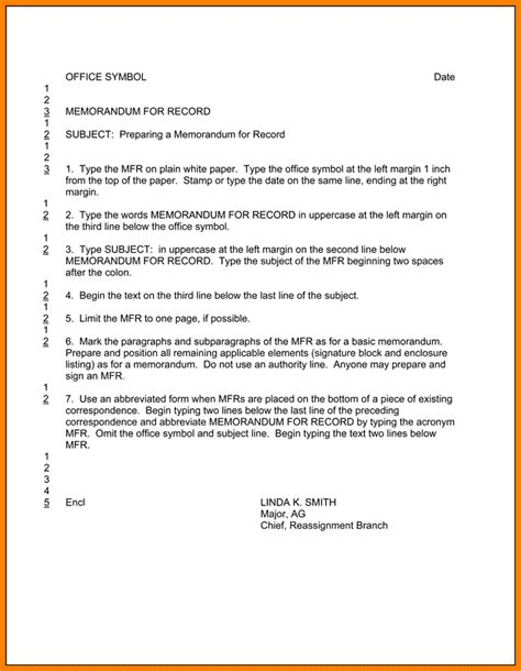 Army Memo For Record Template 10 army memo format inventory count sheet
