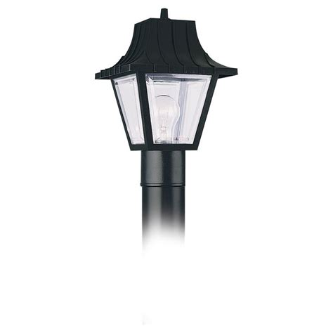Outdoor Lantern Post Lights Sea Gull Lighting 1 Light Clear Black Outdoor Post Top 8275 32 The Home Depot