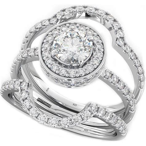 4 9ct 925 silver 3 wedding engagement