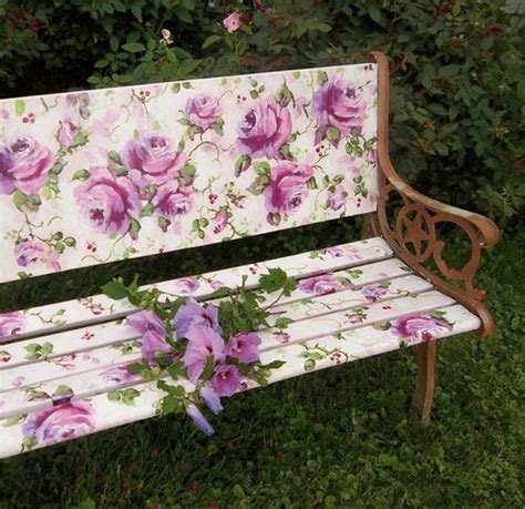 hand painted garden benches hand painted roses garden bench fanciful decor pinterest