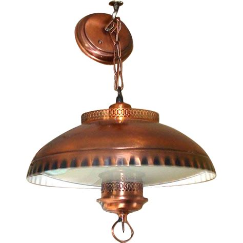 Early American Lighting Fixtures 1960s Early American Style Copper Glass Hanging Light Fixture L Copperton Antiques And
