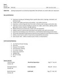 Electrical Apprentice Resume Sle by Resume Sle Electrical Apprentice College To Career Resume Writing