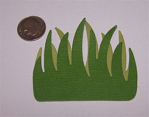 Paper Grass - 6 grass quickutz scrapbooking paper die cuts card by
