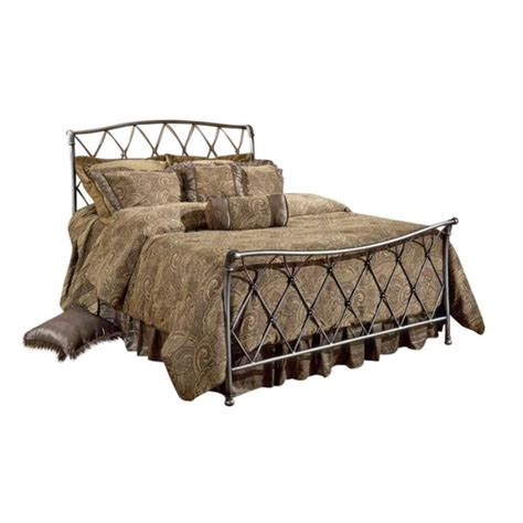 metal sleigh bed hillsdale silverton metal sleigh bed in brushed silver