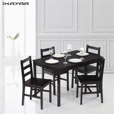 5pcs dinning set 1pcs dining table and 4 ikayaa modern 5pcs pine wood dining table set kitchen dinette table with 4 chairs 150kg capacity